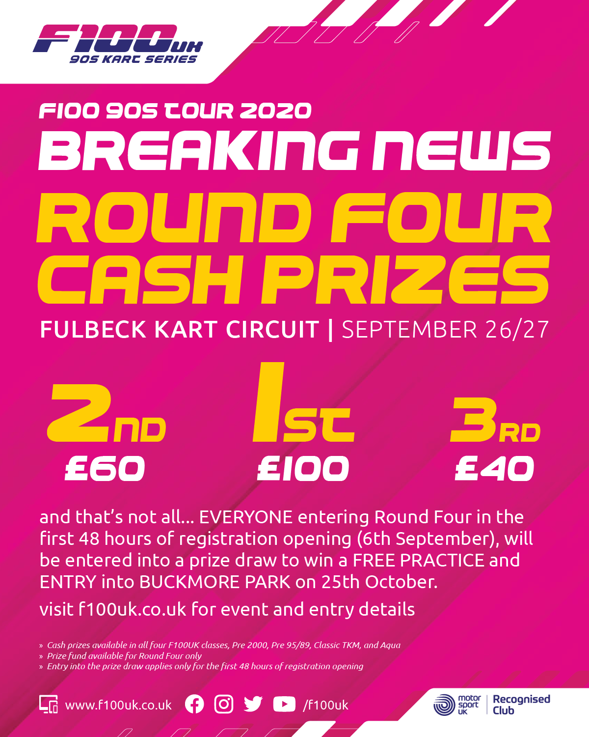 F100UK Round Four Cash Prizes